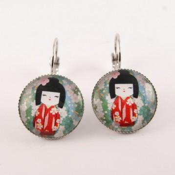 Boucles d'oreille kokeshi : washi n°12