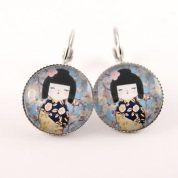 Boucles d'oreille kokeshi : washi n°13