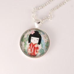 Collier kokeshi : washi n°12