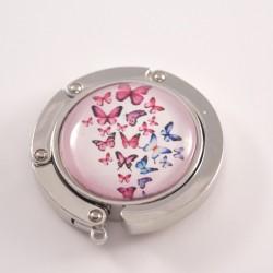 Accroche sac papillons : papillons roses et bleus