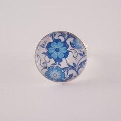 Bague fleur : fleurs bleues