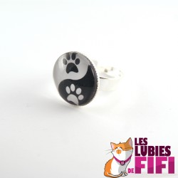 Bague chat : patte de chat version yin and yang