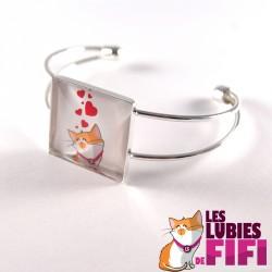 Bracelet chat : les lubies de fifi coeurs version carrée