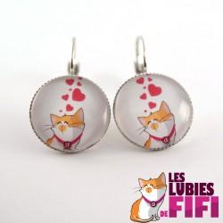 Boucles d'oreille chat : les lubies de fifi coeurs