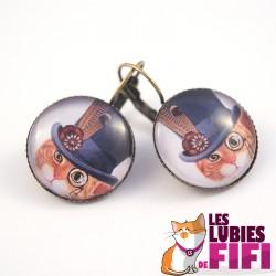 Boucle d'oreille chat : chat et son haut de forme bleu