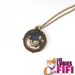 Collier chat : chat steampunk et son monocle