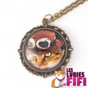 Collier chat : chat steampunk roux