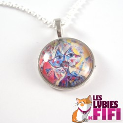 Collier chat : chat multicolore Brunsperger