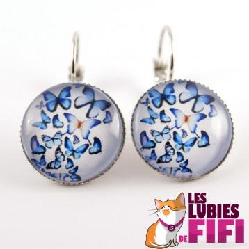 Boucles d'oreille papillons :  papillons  bleus