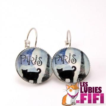 Boucle d'oreille chat :  un chat à Paris