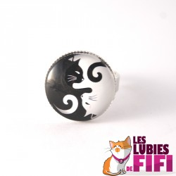 Bague chat : duo de chats