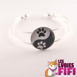Bracelet chat : pattes de chat version yin and yang