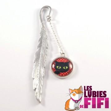 Marque-page chat : chat noir sur fond rouge à pois