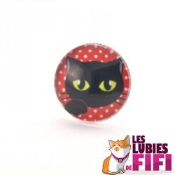 Bague chat : chat noir sur fond rouge à pois
