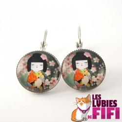 Boucle d'oreille chat : duo de chats Brunsperger
