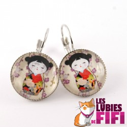 Boucles d'oreille kokeshi : washi doll n°02
