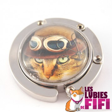 Accroche sac chat : Chat steampunk roux
