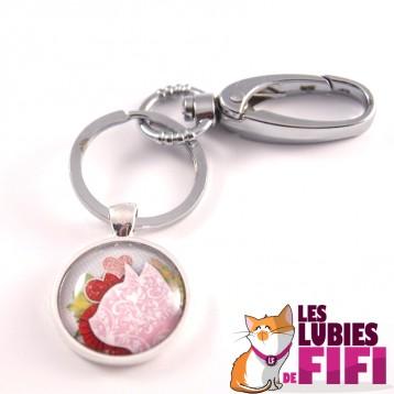 Porte-clé chat : chat liberty rose
