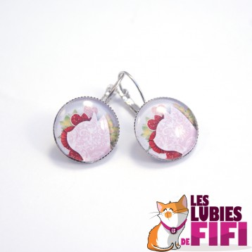 Boucle d'oreille chat : chat liberty rose