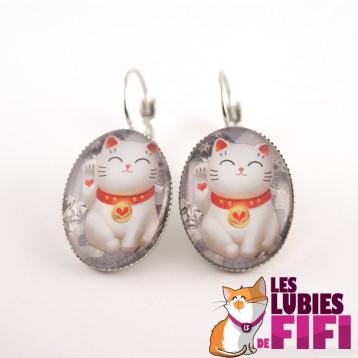 Boucle d'oreille chat : duo de chats