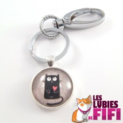 Porte-clé chat : chat noir petit ange