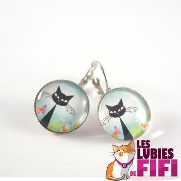 Boucle d'oreille chat : chat noir au printemps