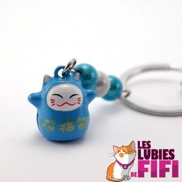Porte-clé chat : Maneki Neko bleu