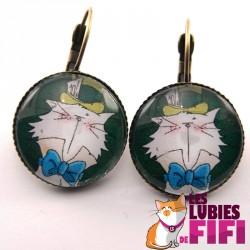 Boucle d'oreille  chat : Mrou le chat toqué