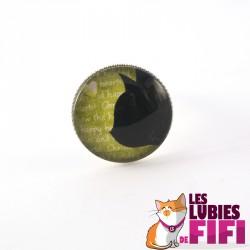 Bague chat : profil chat noir sur fond vert