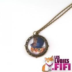 Collier chat : chat steampunk et son haut de forme bleu