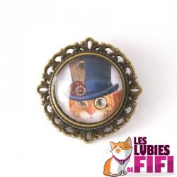 Broche chat steampunk : chat et son haut de forme bleu