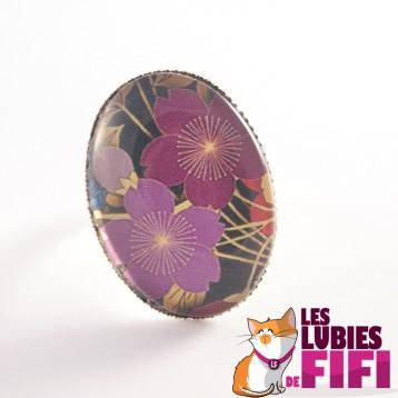 Bague fleur : duo de fleurs violettes