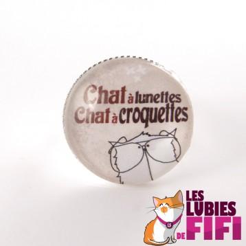 Bague chat : chat à lunettes chat à croquettes