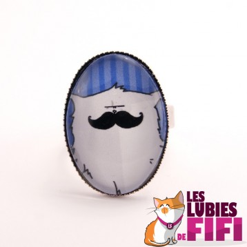 Bague chat : Mrou le chat à moustache