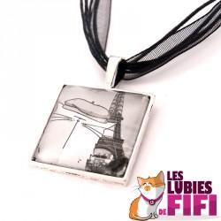 Collier chat : Mrou et la Tour Eiffel