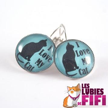 Boucle d'oreille chat : I love my cat sur fond turquoise