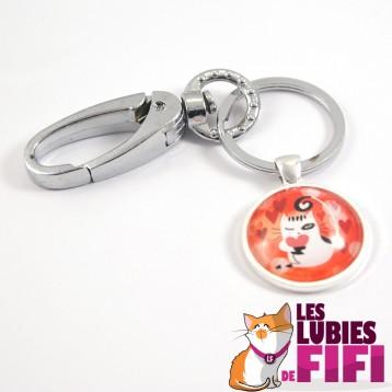 Porte-clé chat : Chat et son petit coeur