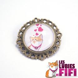 Broche chat : lubies de fifi coeurs