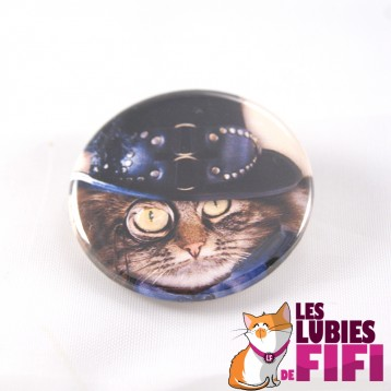 Badge chat : chat steampunk n°09