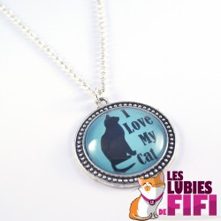 Collier chat : I love my Cat version turquoise