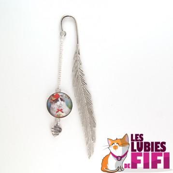 Marque-page chat : chat blanc et son chapeau rouge