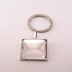 Porte-clé personnalisé carré argenté