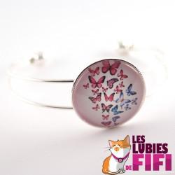 Bracelet papillon : papillons roses et bleus