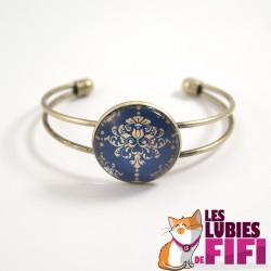 Bracelet Renaissance : motif décoratif or et bleu