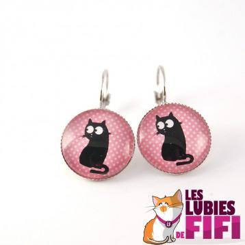 Boucle d'oreille chat :  chat et poisson n°10