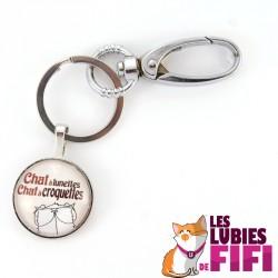 Porte-clé chat : Mrou le Chat à lunettes, chat à croquettes