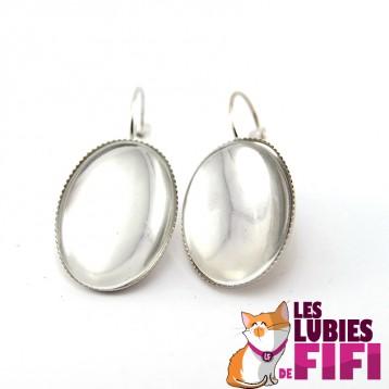 Boucles d'oreille personnalisées ovales argentées