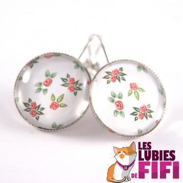 Boucles d'oreille fleurs : petites fleurs rouges