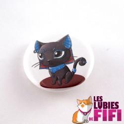 Badge chat : Bastet version rouge