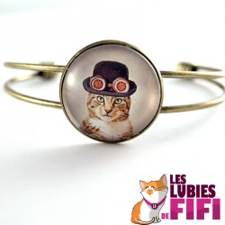 Bracelet chat steampunk : le chat et son chapeau melon